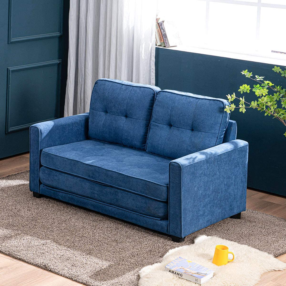 MELLCOM Modern Selling and selling Sofa Bed Beauty products Upholstered Mid-Century Fabric Loveseat