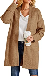 Ferbia Women Long Sweater Open Front Soft Chunky Cardigan Draped Ribbed Knit Coat with Pockets Baggy Loose