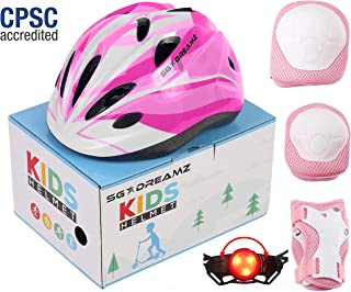 SG Dreamz Kids Helmet with Protective Gear – Adjustable from Toddler to Youth Size Ages 3 to 7 - Nice Package Perfect for Gift - Multi-Sports w LED Safety Light - CSPC Certified