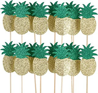 24Pcs Pineapple Cupcake Toppers- Hawaii Luau Tropical Summer Theme Party Decoration Supplies