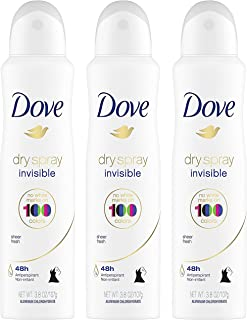 Dove Dry Spray Antiperspirant - Invisible - Sheer Fresh - Net Wt. 3.8 OZ (107 g) Per Can - Pack of 3 Cans