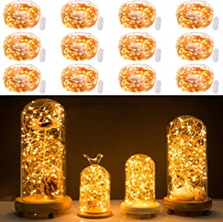 12 Pack Fairy Lights 7Ft 20 LED Firefly Lights Battery Operated String Lights Copper Wire Starry Moon Lights for DIY Wedding Bedroom Indoor Party Christmas Decorations Warm White