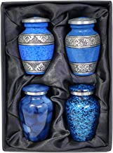 The Ascent Memorial Small Cremation Keepsake Urns Set Four - Mini Urns- Set of 4 Keepsake Urns Human Ashes Mini Cremation Urns Black Gift Box 4 Drawstring Velvet Pouches Funnel