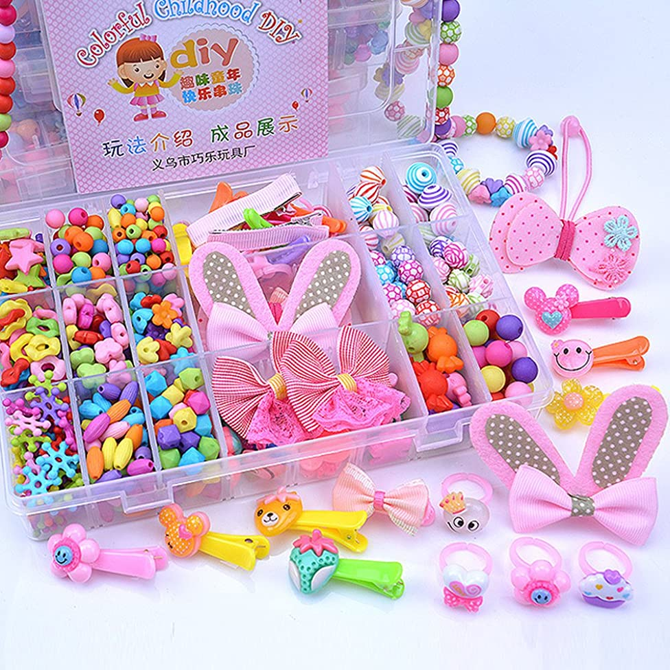 Leoie Girls Colorful Large 24 Grids Beads Kit Educational Toys Jewellery Hair Accessories for DIY Making