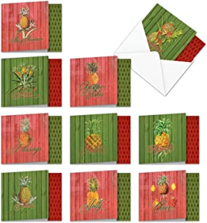 10 Assorted 'Holiday Harvest' Boxed Set of Merry Christmas Cards w/Envelopes 4 x 5.12 inch - Images of Creative and Fun Pineapple Fruits and Holiday Colors - A Seasons Greetings Gift MQ4959XSB-B1x10