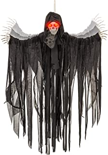 Halloween Haunters Animated Hanging Talking Jumping Forward Moving Skull Skeleton Reaper Prop Decoration - Speaks 3 Spooky Phrases, LED Light Up Eyes, 3 Feet, Haunted House Graveyard Party Entryway