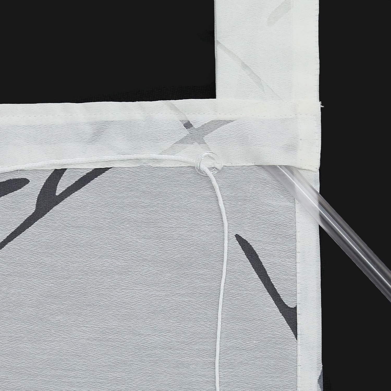 Joyswahl Voile Raffrollo Unifarbenes Romantsiches Ausbrenner Design mit Baum Druck /»Aliya/« Raffgardine Schals mit Schlaufen Fenster Vorh/änge BxH 100x140cm Wei/ß 1er Pack