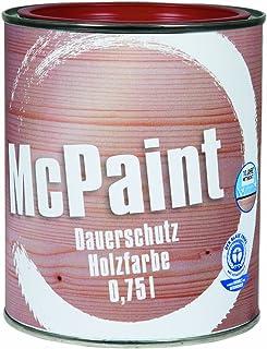 McPaint Wetterschutzfarbe – Holzfarbe für außen auf Acryl Basis mit langanhaltendem Wetterschutz, PU-verstärkt, Möbellack, seidenmatt, 0,750L, Schwedenrot - Weitere Farbtöne verfügbar