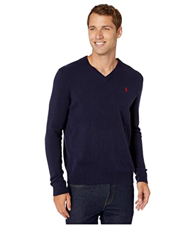 Polo Ralph Lauren Wool Cashmere V-Neck Sweater (Hunter Navy) Men