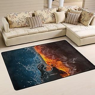 COOSUN Electric Guitar Fire and Water Background Area Rug Carpet Non-Slip Floor Mat Doormats for Living Room Bedroom 72 x ...