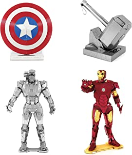Fascinations Metal Earth 3D Metal Model Kits - Marvel - Iron Man - War Machine - Captain America's Shield - Thor's Hammer - 4 Piece Bundle