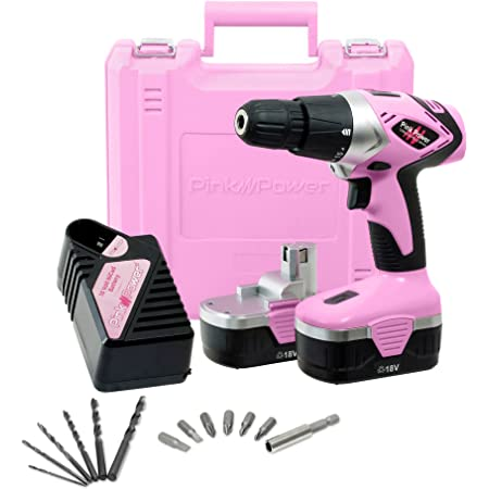 Pink Power PP182 18V Cordless Drill Set for Women- Tool Case, 18 Volt Drill , Charger & 2 Batteries
