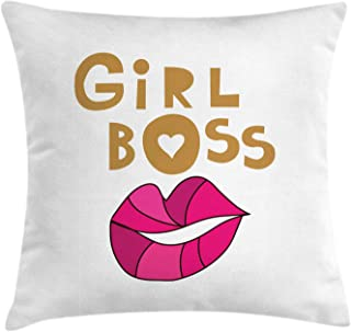Ambesonne Girl Power Throw Pillow Cushion Cover, Cartoon Composition with Woman Lips and Girl Boss Typography, Decorative Square Accent Pillow Case, 36