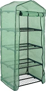 4 Tier Mini Greenhouse with PE Cover and Roll-Up Zipper Door, Waterproof Cloche Portable Greenhouse Tent-27.25