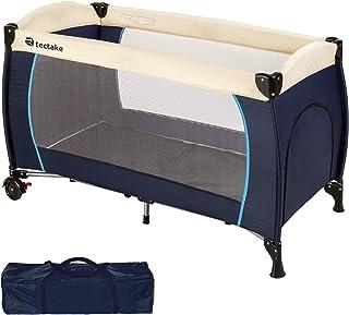 TecTake Cuna de viaje bebe plegable con bolsa de transporte - disponible en diferentes colores - (Azul | no. 402416)