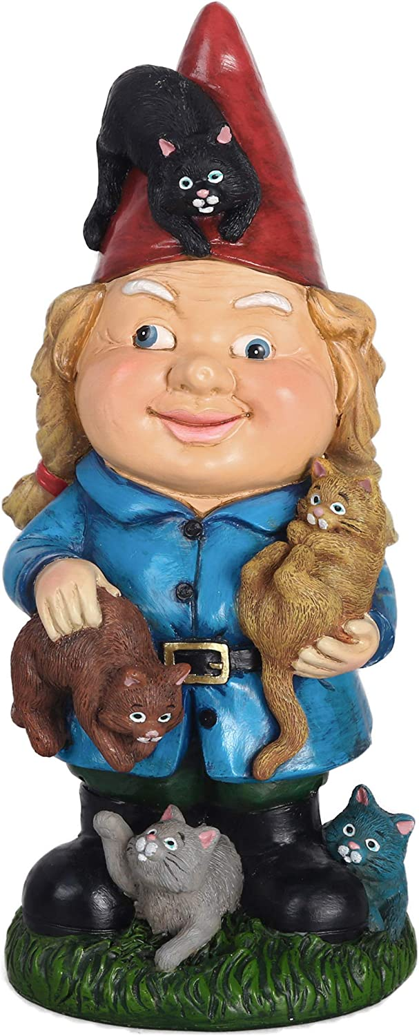 TERESA'S COLLECTIONS Mischievous Cat Garden Gnome Statue, Large Resin Funny Mrs Gnome Garden Art Figurines for Outdoor Patio Lawn Yard Home Decorations, 10.6 Inch