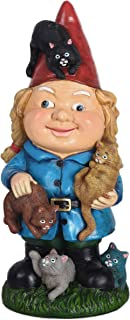 TERESA'S COLLECTIONS Funny Garden Statue, 10.6 Inch Crazy Cat Lady Figurine, Polyresin Garden Figurines for Outdoor Yard L...