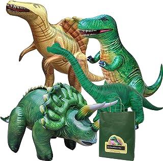 مجموعة ديناصورات قابلة للنفخ، 4 عبوات من جيت كريشنز، تي-ريكس وبراكيوصور، وسبينوصور، وتريسيراتوبس. رائعة لحمامات السباحة وت...