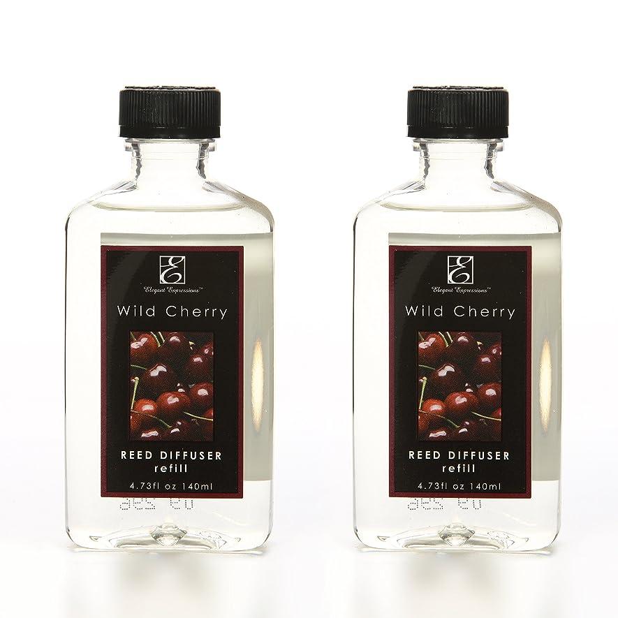 ファンクラウンつぶすアロマセラピーHosley Wild Cherry Fruit highly scented Reed Diffuser Refill耐油性のセット2?/ 140?ml ( 4.73?FL OZ )各?–?Made in USA。一括購入への理想的なギフトや結婚式、Spa、浴室設定
