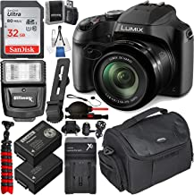 Panasonic Lumix DC-FZ80 Digital Camera with Essential Accessory Bundle – Includes: SanDisk Ultra 32GB SDHC Memory Card, Spare Battery, Home/Travel Dock Charger, Digital Slave Flash & Much More