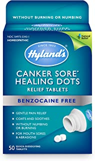 Canker Sore Relief Treatment by Hyland's, Quick Dissolving, Fast Natural Pain Relief of Mouth Ulcers and Oral Irritation, Healing Dots Tablets, 50 Count