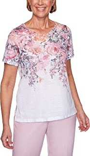 Alfred Dunner Women's Floral Yoke Top