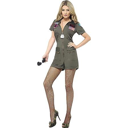 Top Gun Officer Costume pilote aviateur uniforme Femme Ladies Fancy Dress S M L