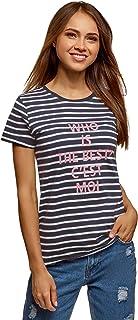 oodji Ultra Mujer Camiseta de Algodón con Inscripción y Borde Inferior No Elaborado