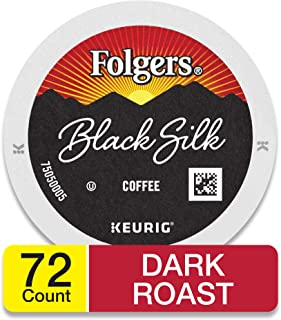 Folgers Black Silk Coffee, Dark Roast, K Cup Pods for Keurig Coffee Makers, 72 Count