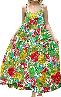 YESNO Women Casual Loose Bohemian Floral Print Empire Waist Spaghetti Strap Long Maxi Summer Beach Swing Dress XS-5X E75CA