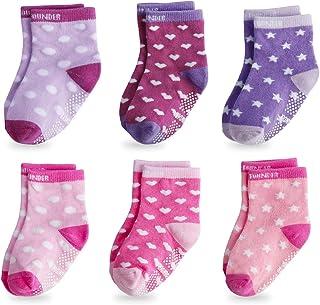 FUTURE FOUNDER, Calcetines para bebé, 6 pares de calcetines antideslizantes de plástico ABS, antideslizantes, para niños de 0 a 36 meses, para niños pequeños y niñas