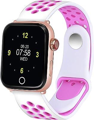 CAVIOT Pink-White Bluetooth Smart Fitness Tracker Waterproof Band Watch for Women and Girls - CB1304