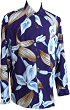 product image for Paradise Found Mens Calla Lily Kamehameha Style Long Sleeve Shirt Eggplant S