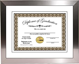 CreativePF [11x14ss-w] Stainless Steel Finish Diploma Frame with 11x14-inch Black Mat to Hold 8.5 by 11-inch Graduation Documents w/Stand and Wall Hanger
