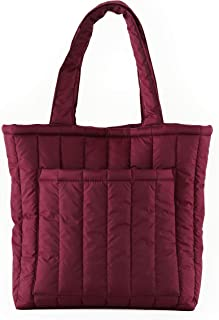 BAGGU Puffy Tote, Lightweight Nylon Protective Tote for Travel or Everyday Use, Cranberry