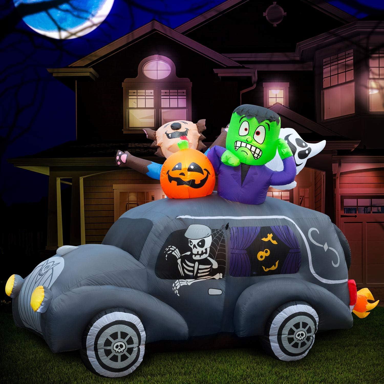 今だけ限定15%OFFクーポン発行中 Holidayana 5.5 ft Inflatable 買収 Halloween Yard Decor Hearse Monster