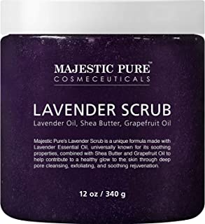 Lavender Oil Body Scrub Exfoliator with Shea Butter and Grapefruit Oil by Majestic Pure - Exfoliate & Moisturise Skin, Fig...