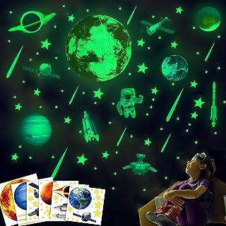 Lamdgbway Autocollants Lumineux Glow in The Dark Universe Astronaute Sun Star UFO Décoration Murale Convient Aux Enfants B...
