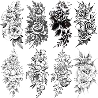 VANTATY 8 Sheets Realistic Flower Rose Temporary Tattoos For Women Body Art Large Arm Peony Flora Waterproof Tattoo Stickers For Girls Lady Fake Big Sexy Fake Tatoos Breast Black Forearm