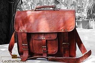 Leather Native Maletin para Portatíl - Estilo Vintage, Casual y Ejecutivo - para Estudiantes Universitarios, Trabajadores de Oficina y Hombre de Negocios - Mochila de Viaje de Cuero Color Marrón