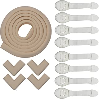 Store2508 Child Safety Strip Cushion & Corner Guards with Strong Fibreglass Tape for Baby Safety Child Proofing + 8 Pcs White Child Safety Locks (Ivory)