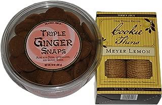 Trader Joes's Cookie Bundle, 2-pack, Triple Ginger Snaps and Meyer Lemon Cookie Thins