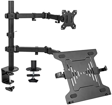 VIVO Full Motion Monitor and Laptop Desk Mount Articulating Double Center Arm Joint VESA Stand, Fits up to 32 inch Screen, STAND-V102C