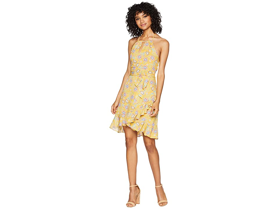 Miss Me Open Back Floral Dress (Yellow) Women