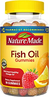 Nature Made Fish Oil Gummies, 90 Softgels, with Heart-Healthy Omega 3s 57 mg, in Delicious Strawberry, Lemon, & Orange