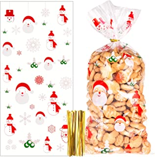 Kiiwah 100pcs Sacs de Biscuits Bonbons de Noël, Sachets de Transparent en Plastique Cadeau Noel avec 200pcs Cravates Torsa...