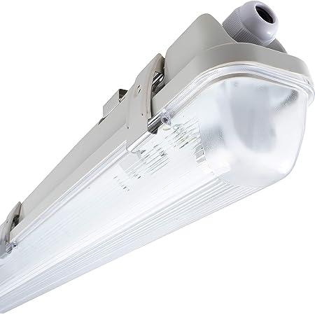 LED-Feuchtraumwannenleuchte IP65 32W proventa Kompakt-Feuchtraumleuchte mit integriertem LED-Leuchtmittel 3.100 Lumen Kunststoff wei/ß LED-Wannenleuchte 4.000 K 123 cm