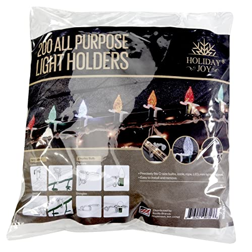 Holiday Joy - 200 All Purpose Gutter Hooks for Outdoor Christmas Lights - Made in USA