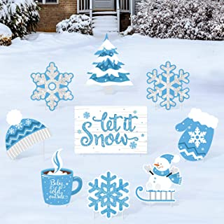 Huray Rayho Snowflake Yard Signs with Stakes Frozen Birthday Lawn Decorations Let it Snow Party Cutouts for Baby Shower, W...
