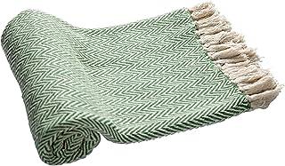 EHC Manta Reversible Tejida a Mano, Individual, para Cubrir sofá o sillón, 125x 150cm, Color Verde